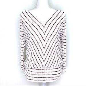 Knox Rose Striped Maroon White Raglan Sleeve Top